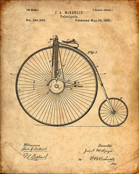 146 best patent art images on pinterest construction drawings patent print of a velocipede from 1881 patent art by visualdesign malvernweather Gallery