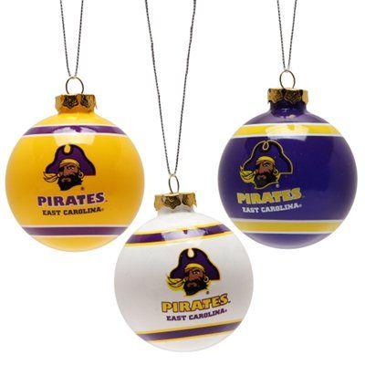 East Carolina Pirates Three Pack Glass Ball Ornament Set
