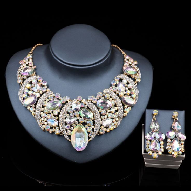 latest african beads for wedding statement necklace set  gold plated necklace and drop earrings  six colors free shipping
