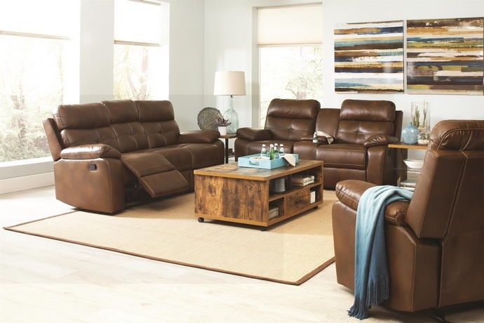 "2 pc Damiano collection transitional style brown padded faux leather upholstered standard motion sofa and love seat with recliner ends. This set includes the Sofa and love seat standard motion recliner ends, with stainless steel cup holders and a flip up storage center console of the love seat.  Sofa measures 85.5"" x 37.5"" x 41"" H. Love seat measures 77.5"" x 37.5"" x 41"" H. Optional single recliner available at additional cost and measures 41.75"" x 37.5""..."
