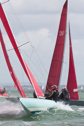The Redwing class sailboat 'Toucan' racing in the Solent during Cowes Week 2013