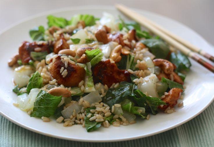 Paksoi-salade met rijst en kip, makkelijke maaltijd, beautiful food, foodblog, foodpic, foodpics, eetfoto's, mooie eetfoto's, foodporn, healthy, food, voedsel, recept, recipe