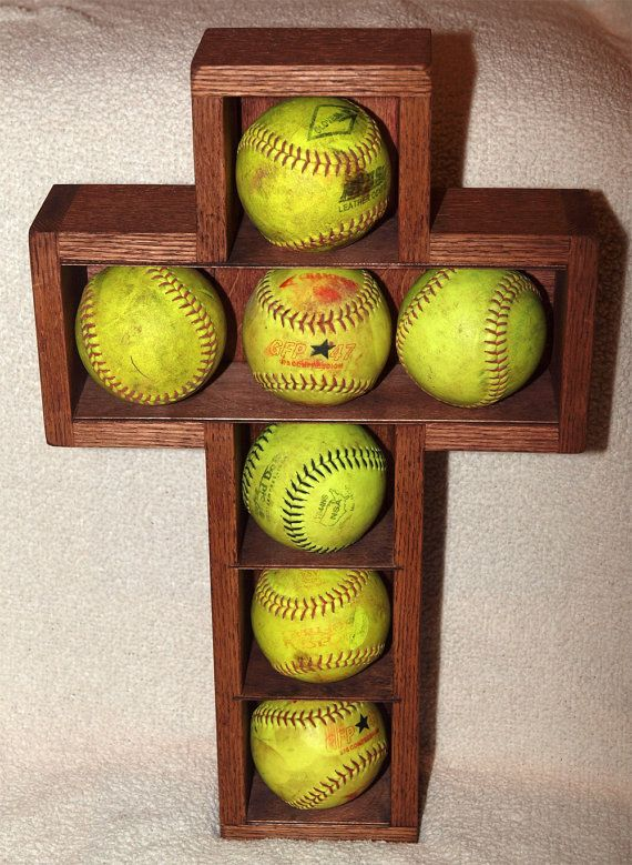 Wooden Cross Shadow Box Softballs Display Case Wood ...