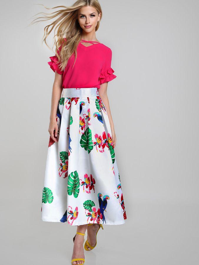 009b1c55f1 Shein Parrot Tropical Print Box Pleated Skirt | Products | Box pleat ...