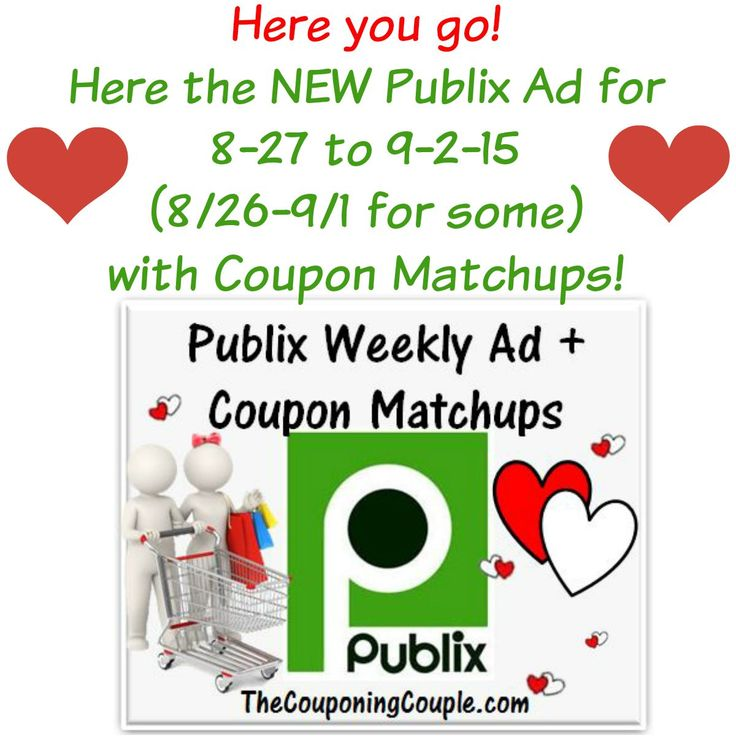 ***HERE YOU GO*** Here is the NEW Publix Ad for 8-27 to 9-2-15 (or 8/26-9/1 for those whose ad begins on Wednesdays) with Coupon Matchups!  Click the link below to get all of the details ► http://www.thecouponingcouple.com/publix-ad-with-coupon-matchups-for-8-27-to-9-2-15/  Not ONLY are you getting the Ad early on Sunday evening but also: 1. Final Prices for 1/2 Price BOGO FREE AND True BOGO! 2. Final Prices for people who get Double Coupons AND People who DO NOT ge