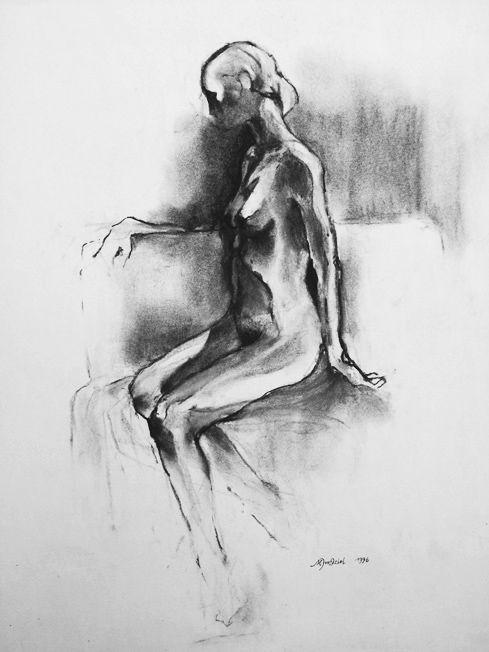Marek Drtoździel, 30x60 cm, charcoal on paper