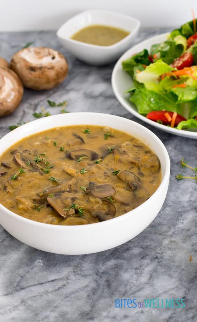 The best ever mushroom soup is the ultimate mushroom soup you will ever have! #vegan #dairyfree #glutenfree   https://bitesofwellness.com