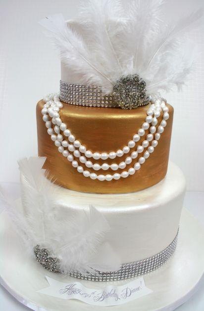 Gatsby Wedding Cake White-Gold