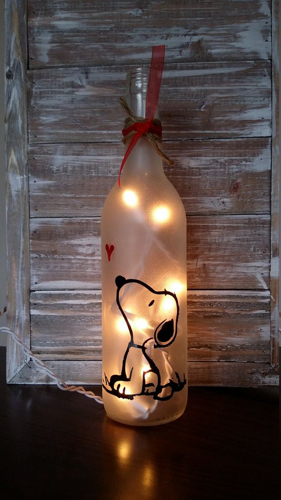 Snoopy Lighted Wine Bottle/lamp/decoration by KarensWineSeller ♡