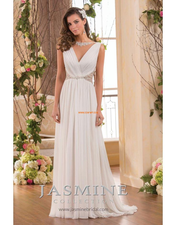 Výstřih do V Tyl Elegantní & moderní Levné svatební šaty