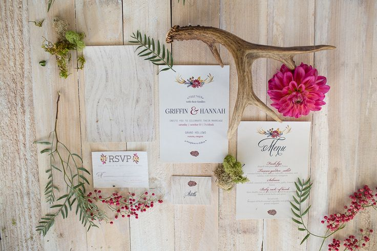 Great Woodsy Themed Wedding Invitation Suite with Antlers by Olive Juice & Co / photo by Ashley Cook Photography / as seen on www.BrendasWeddingBlog.com