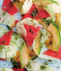 Pineapple and melon carpaccio with mojito sugar