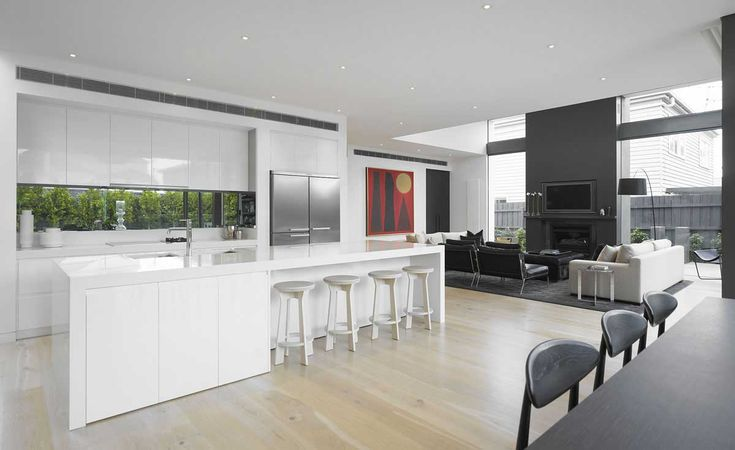 white kitchen grey living room minimalist home