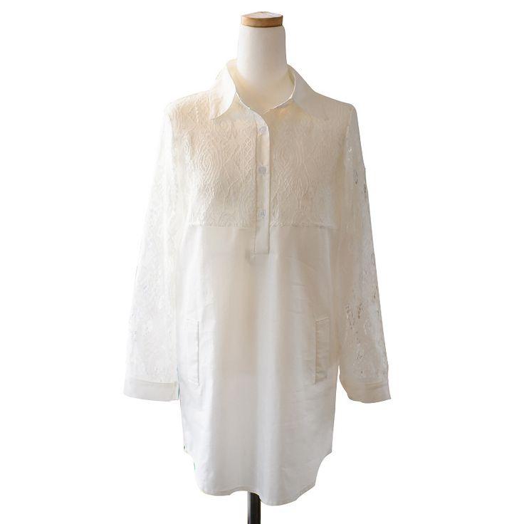 シャツ 刺繍 レース 長袖 ブラウス レディースロング丈