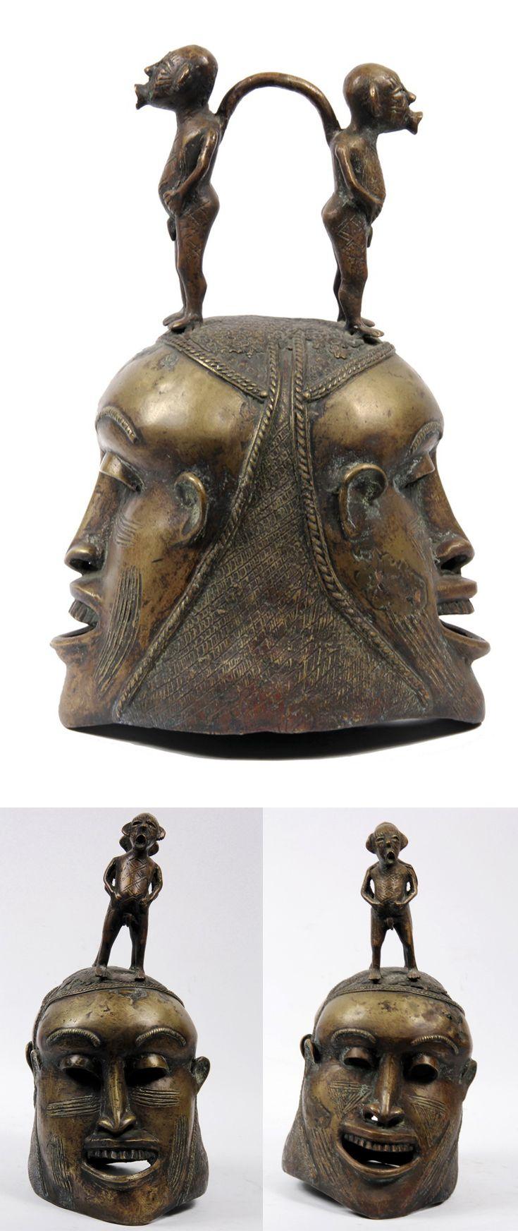 Africa | Benin Janus helmet, from Nigeria | Bronze; lost wax method | 20th century
