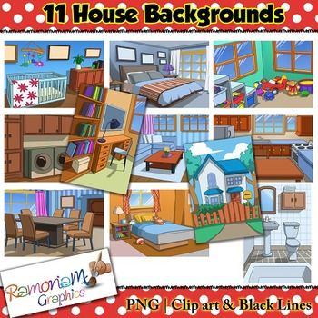 House backgrounds clip art set. This set depicts the rooms in a house. Each image is in PNG format and 300dpi