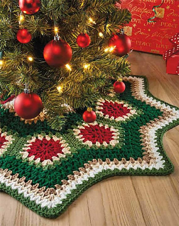 INSTANT DOWNLOAD PDF Vintage Crochet Pattern Granny Ripple Christmas