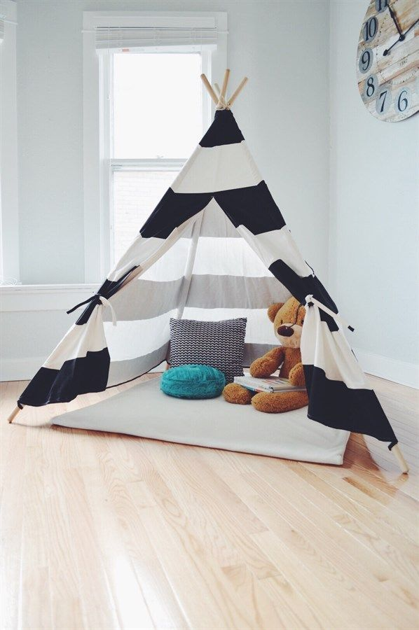 Kids Teepee Tent | Black + White Stripe