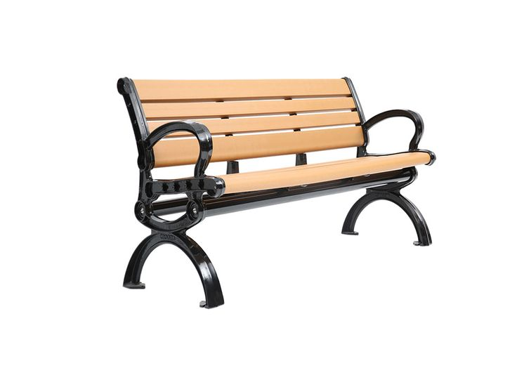 CAB-820 in our recycled cedar wood and black frame . Made of 100% recycled plastic slats, this bench is perfect for parks, recreational spaces, and playgrounds!