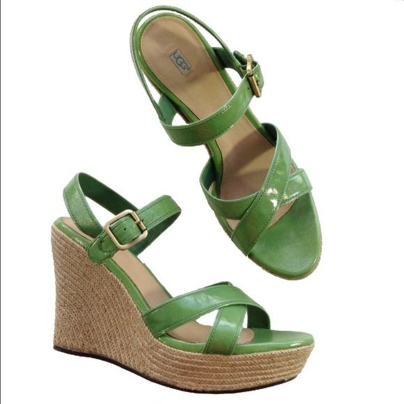 NEW UGG green espadrille wedge sandals 11 Green Grass Patent upper. Go classic and colorful in the fun-loving, free-wheeling Jackilyn wedge. Patent leather upper in a summery slingback sandal style with crisscross straps at toe and buckle strap at instep. Adjustable antiqued-metal buckle closure for a flexible fit. Luxurious, leather-wrapped, cushioned Poron insole for ultimate comfort. Lightweight, sculpted wedge and platform. Cork-infused rubber outsole. Imported. Measurements: Heel…