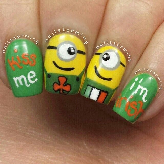 nailstorming St Patrick's Day MINIONS #nail #nails #nailart