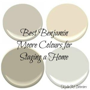 The Best top Benjamin moore colours for staging or selling a home - Kylie M Interiors Top Right – Grant Beige. Bottom Right – Stonington Gray. Bottom left – Chelsea Gray (although it looks lighter in that swatch) and Top left: Revere Pewter…