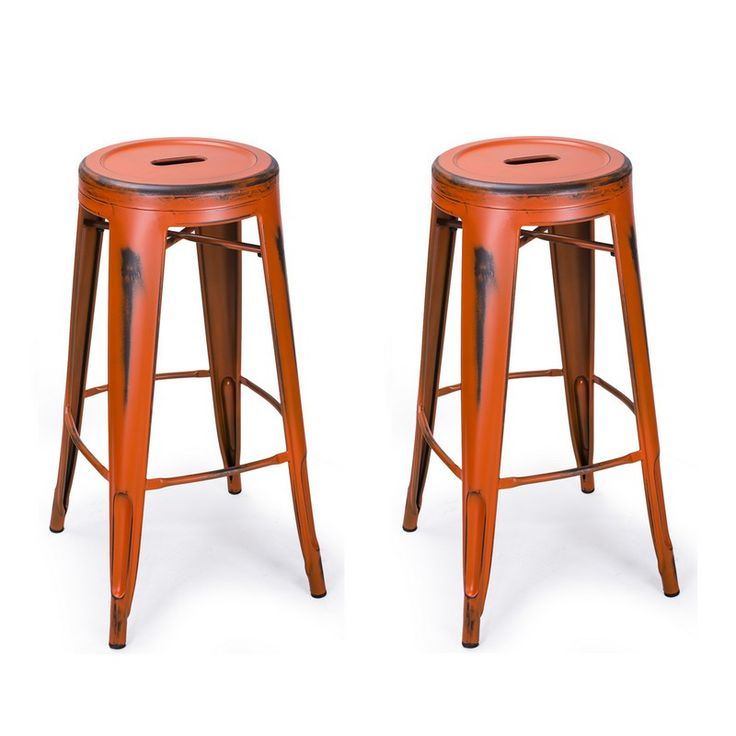 orange 30inch metal counter bar stools set of 2 - 36 Inch Bar Stools
