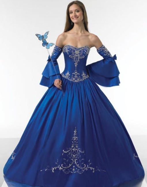Love the half sleeve idea wedding ideas pinterest for Blue gothic wedding dresses