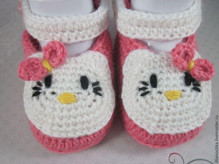 Купить Пинетки Hello Kitty - пинетки, пинетки для девочки, пинетки в подарок, пинетки крючком