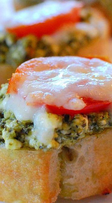 Pesto and Goat Cheese Crostini