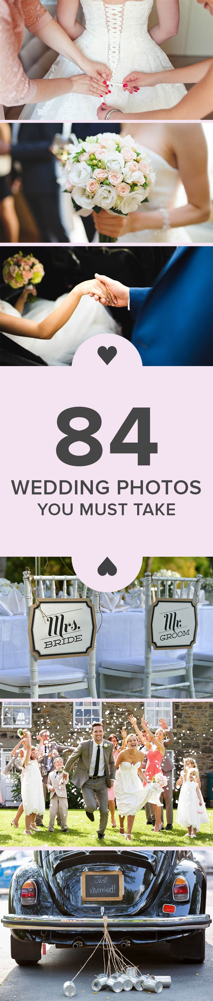 If you have wedding bells in your future, this list will help make sure you take full advantage of every photo opportunity and have lots of pictures to remember your wedding.