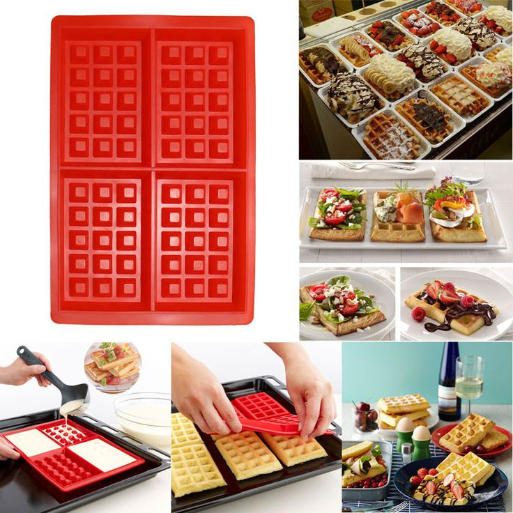 4-Cavity Silicone Waffle Pan Mold For Easy, Perfect Waffles Every Time