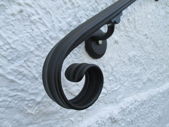 10 Ft Wrought Iron Wall Rail Hand Rail Stair Step Railing Wall Mount  Handrail Elegant Scroll Design Made In The USA