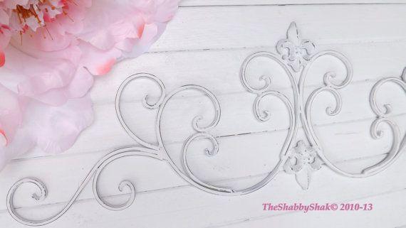 ON SALE White Wall Decor / Wrought Iron /Fleur De by Theshabbyshak