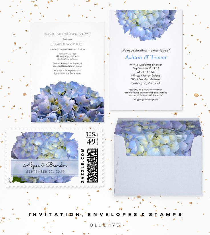 Blue Moon Hydrangea Wedding designer set features a big, light blue flower on wedding invitations, reply cards, postage stamps, envelopes and more. #bluewedding #hydrangeawedding #lightbluewedding
