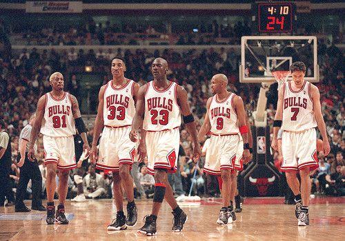 (Left To Right) Dennis Rodman, Scottie Pippen, Michael Jordan, Ron Harper and Toni Kukoc. The 1996 Chicago Bulls at the United Center