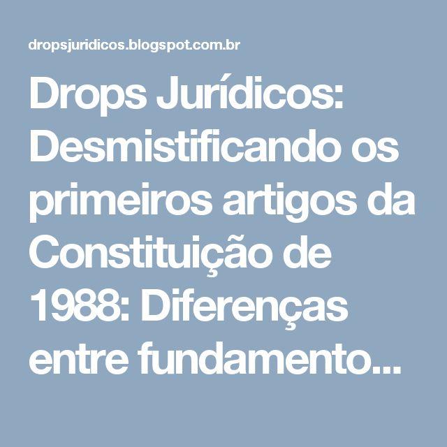 Drops Jurídicos: Desmistificando os primeiros artigos da Constituição de 1988: Diferenças entre fundamentos, princípios de relação internacional e objetivos da República Federativa do Brasil.