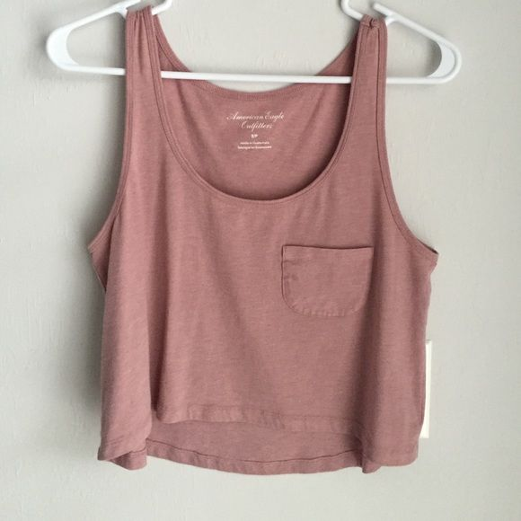 AEO pink crop tank Pink cropped tank top with pocket American Eagle Outfitters Tops Tank Tops