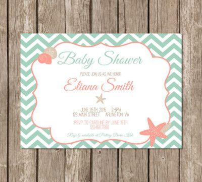 Perfect Baby Shower Invitation, Beach Themed Shower, Mint, Coral, Starfish,  Seashell,
