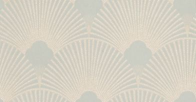 Deco Fabulous (PT012) - Nono Wallpapers - An all over geometric design in luscious metallic fans on a duck egg background with tiny white dots. More colours available. Please request a sample for true colour match. Paste-the-wall products.