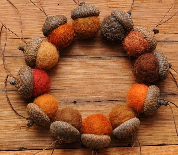felt ball acorns - I use these as mini pin cushions with sewing away from home.