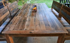 3m x 1.2m recycled timber slatted dining table with bench seats with backs