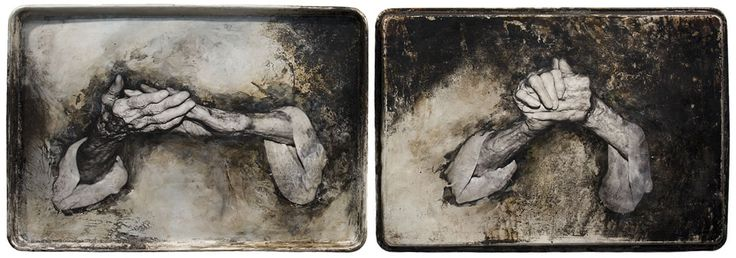 Mixed media photography with hands on metal.  Sally Mankus