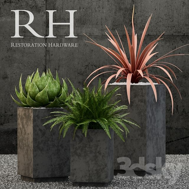 Restoration Hardware cube sheet metal planters