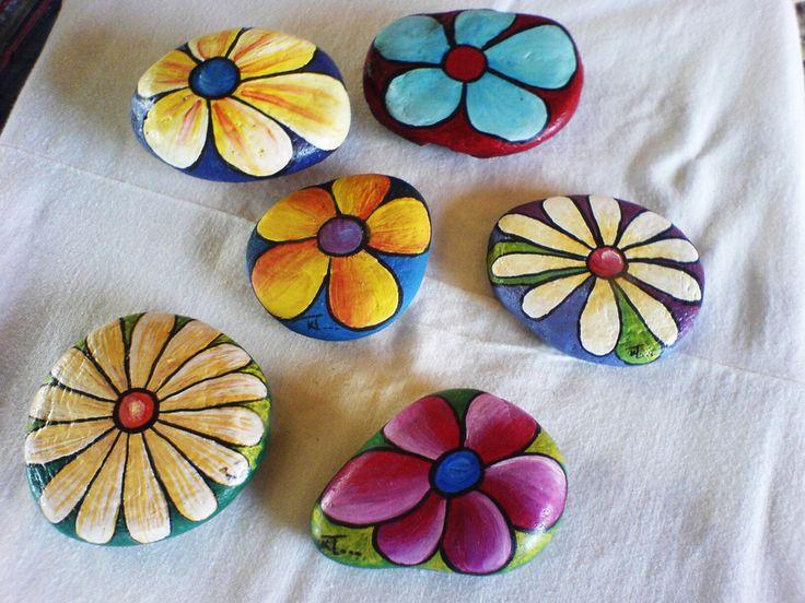 flowers painted on rocks