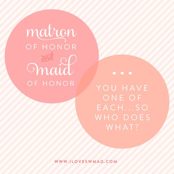 guidelines for those who have both a maid and matron of honor!