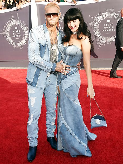 Katy Perry and Riff Raff reference Britney Spears and Justin Timberlake's all-denim outfits at the 2014 VMAs