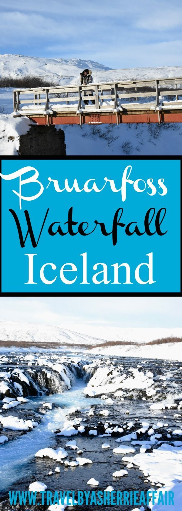 Iceland in the Wintertime- A must to go visit Bruarfoss Waterfall in the wintertime!  The turquoise blue water is spectacular.  It is a little bit of a hike in the snow but so worth it!  Located at the Golden Circle of Iceland.  #Iceland #wintertime #waterfall #Bruarfosswaterfall #Goldencircle #hike #hikinginsnow #snow #hiddengem #turqoisewater