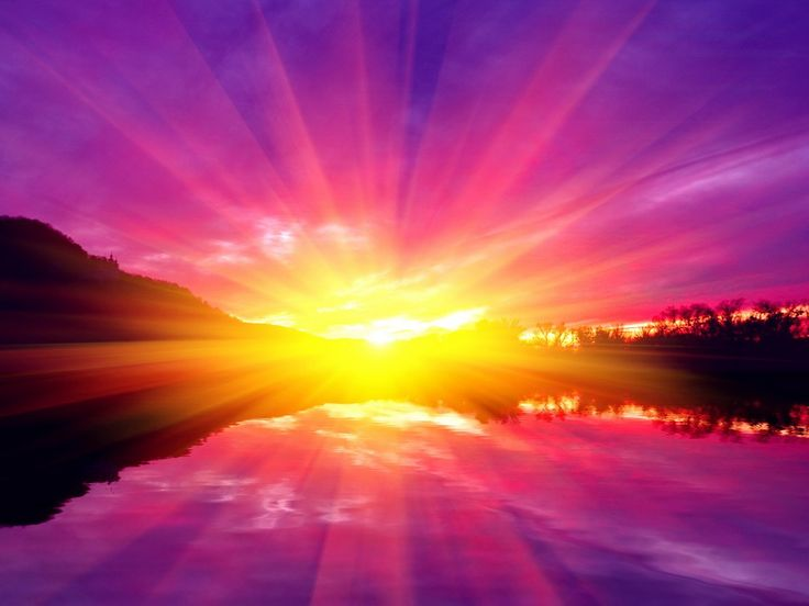 Violet Orange Sunset Colorful Sunlight Lake Golden Glow