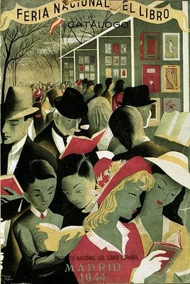 Madrid book fair, 1944.  Feria del libro de Madrid, 1944. Beautiful illustration!